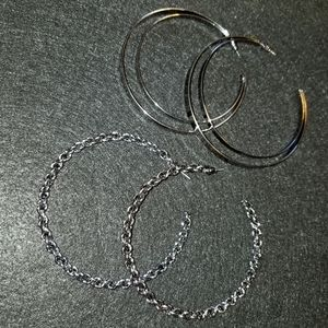 "2 PAIRS OF 3"" LOOP EARRINGS"